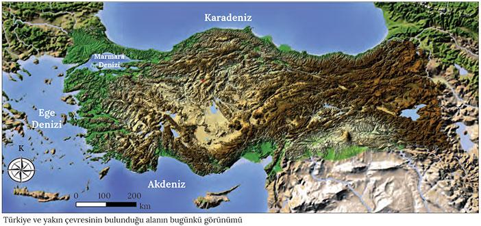 Türkiye'nin bugünkü görünümü haritası