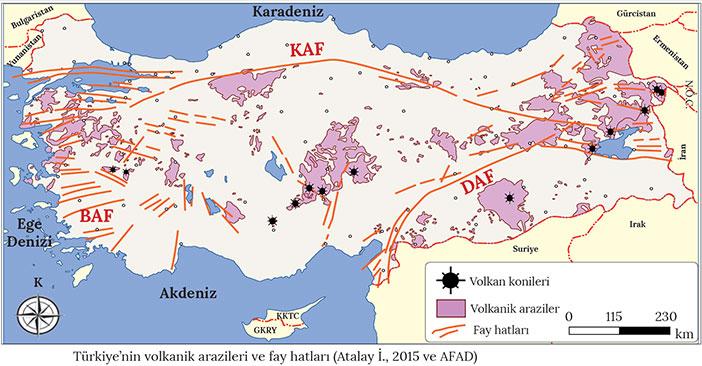 Türkiye'nin volkanik arazileri ve fay hatları haritası
