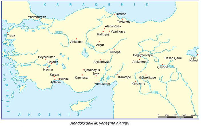 Anadolu'daki ilk Yerleşim Alanları Haritası