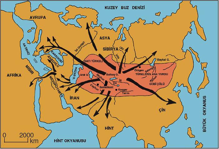 Türklerin Orta Asya Göçü Haritası