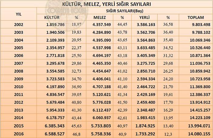 Türkiye'deki Büyükbaş Hayvan Sayısı İstatistikleri