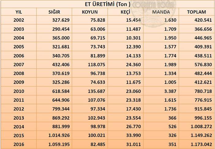 Türkiye'deki Et Üretimi İstatistikleri