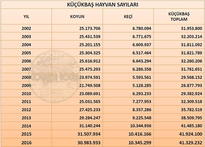 Türkiye'deki Küçükbaş Hayvan Sayısı İstatistikleri