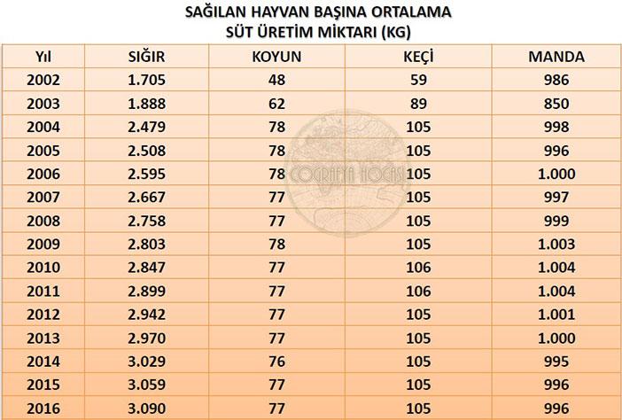 Türkiye'deki Sağılan Hayvan Başına Ortalama Süt Üretimi İstatistikleri