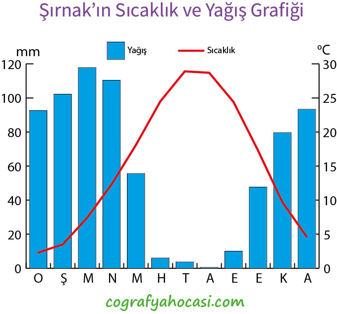 Şırnak'ın Sıcaklık ve Yağış Grafiği