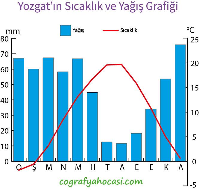 Yozgat'ın Sıcaklık ve Yağış Grafiği