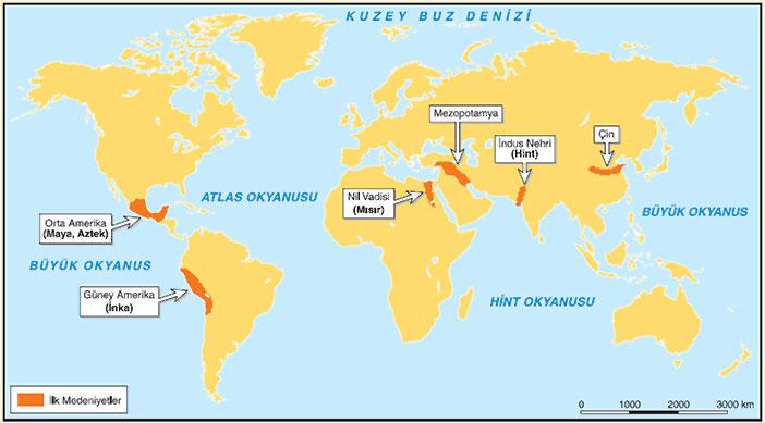 ilk medeniyetlerin kurulduğu yerlerin haritası