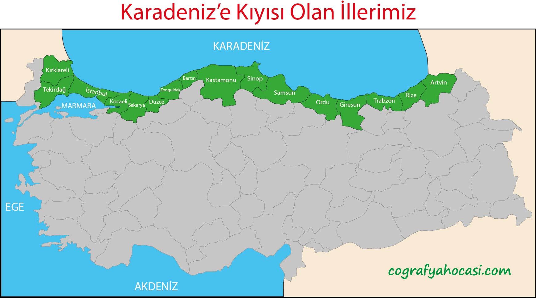 Karadeniz'e Kıyısı Olan İllerimiz