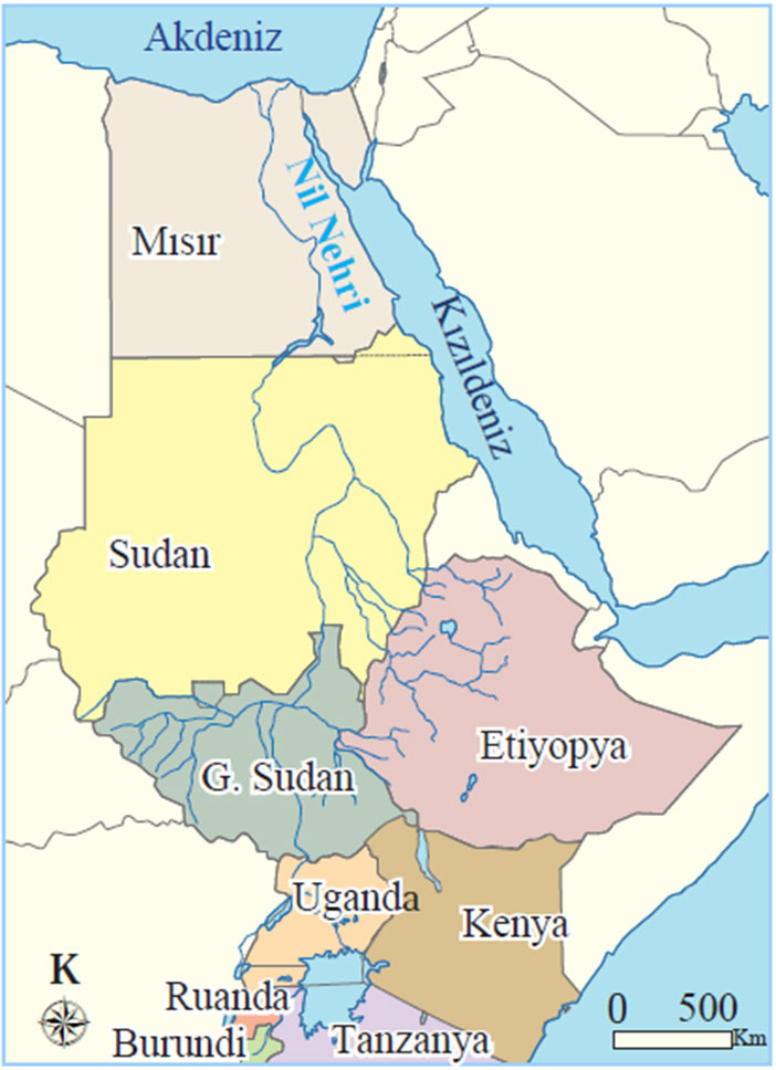Nil Nehrinin Geçtiği Ülkeler Haritası