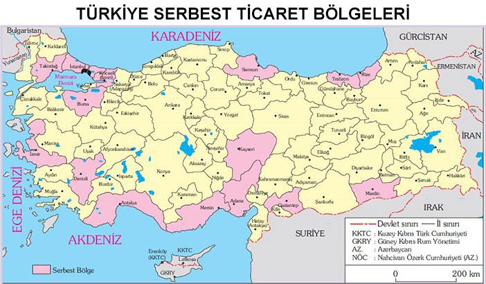 Türkiye'deki Serbest Ticaret Bölgeleri Haritası