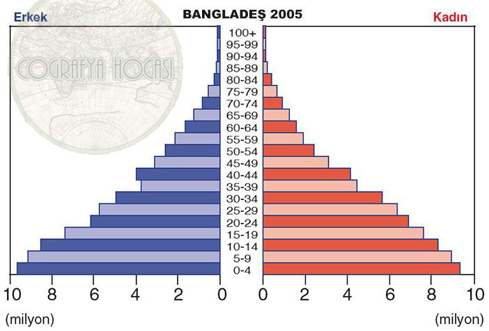 Bangladeş Nüfus Piramidi 2005
