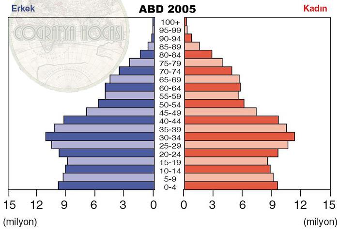 ABD Nüfus Piramidi 2005