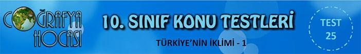 Türkiye'nin iklimi Testi