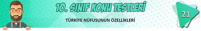 Türkiye Nüfusunun Özellikleri Konu Testi