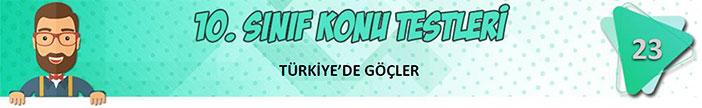 Türkiye'de Göçler Konu Testi
