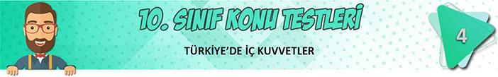 Türkiye'de İç Kuvvetler Konu Testi