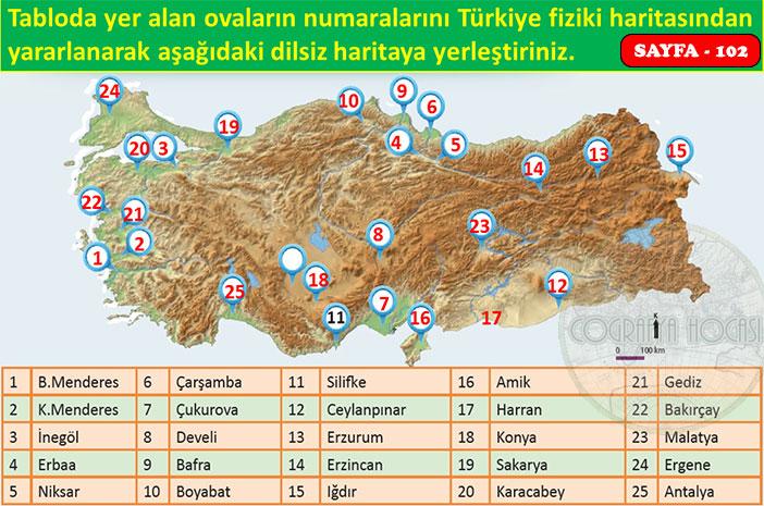 Türkiye'nin Yer Şekilleri Etkinlik Sayfa 102