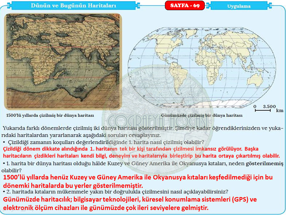 Harita Bilgisi Sayfa 69 Uygulama Cevapları