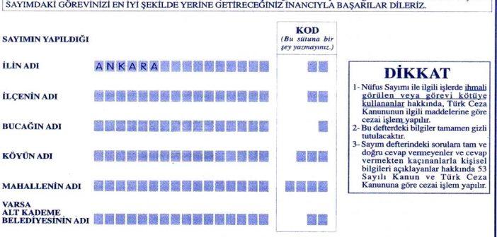 2000 Yılı Nüfus Sayım Formu