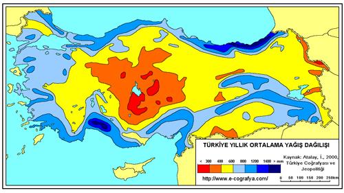 türkiye yıllık ortalama yağış haritası